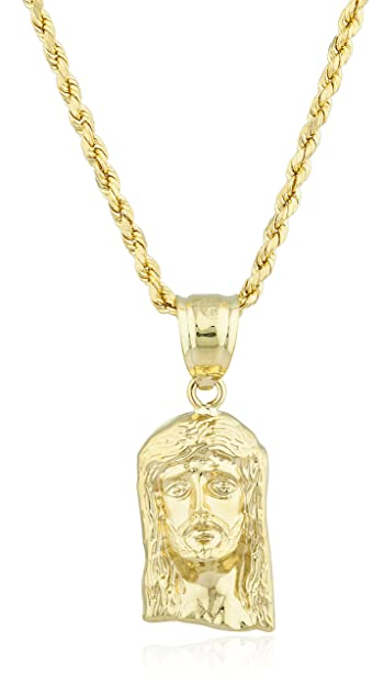 DO NOT Order IT Yellow Gold 3D Jesus Head Pendant and 10K Rope Chain (Size  1)  ff0d9c7130