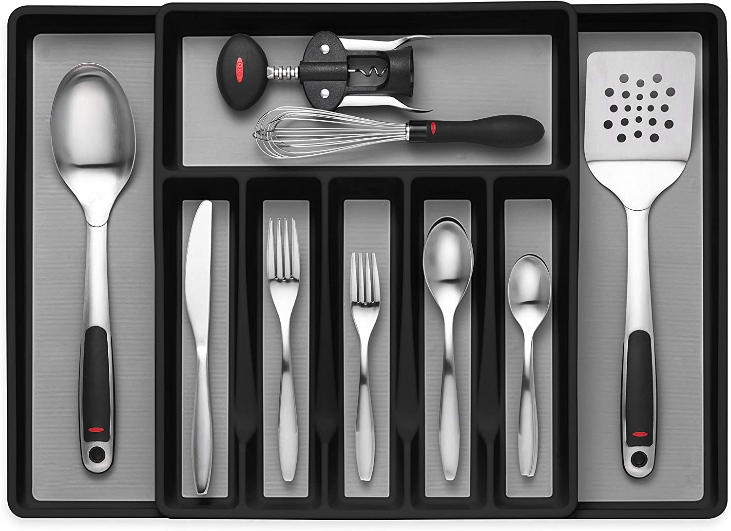 Expandable Cutlery Drawer Organizer, Flatware Drawer Tray for Silverware, Serving Utensils, Multi-Purpose Storage for Kitchen, Office, Bathroom Supplies -
