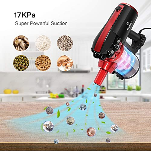 MOOSOO Vacuum Cleaner Corded 17KPa Suction Stick Vacuum 2 in 1 Handheld Vacuum for Hard Floor with 2-Pack HEPA Filters, D600