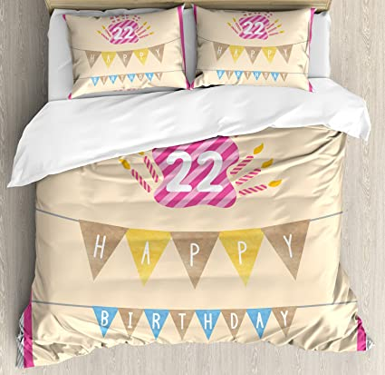Amazoncom 22nd Birthday Decorations Duvet Cover Set by Ambesonne
