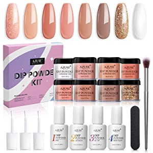 AZUREBEAUTY Nude White Glitter 8 Colors Dip Powder Nail Starter Kit Acrylic Dipping Powder System Essential Kit for French Nail Manicure Nail Art Set