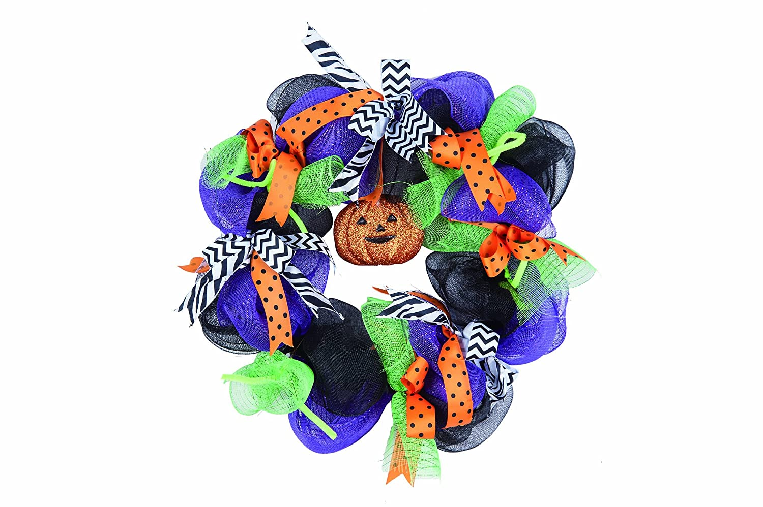 Deluxe Halloween Trick or Treat Front Door Wreath Orange Purple Green ribbons