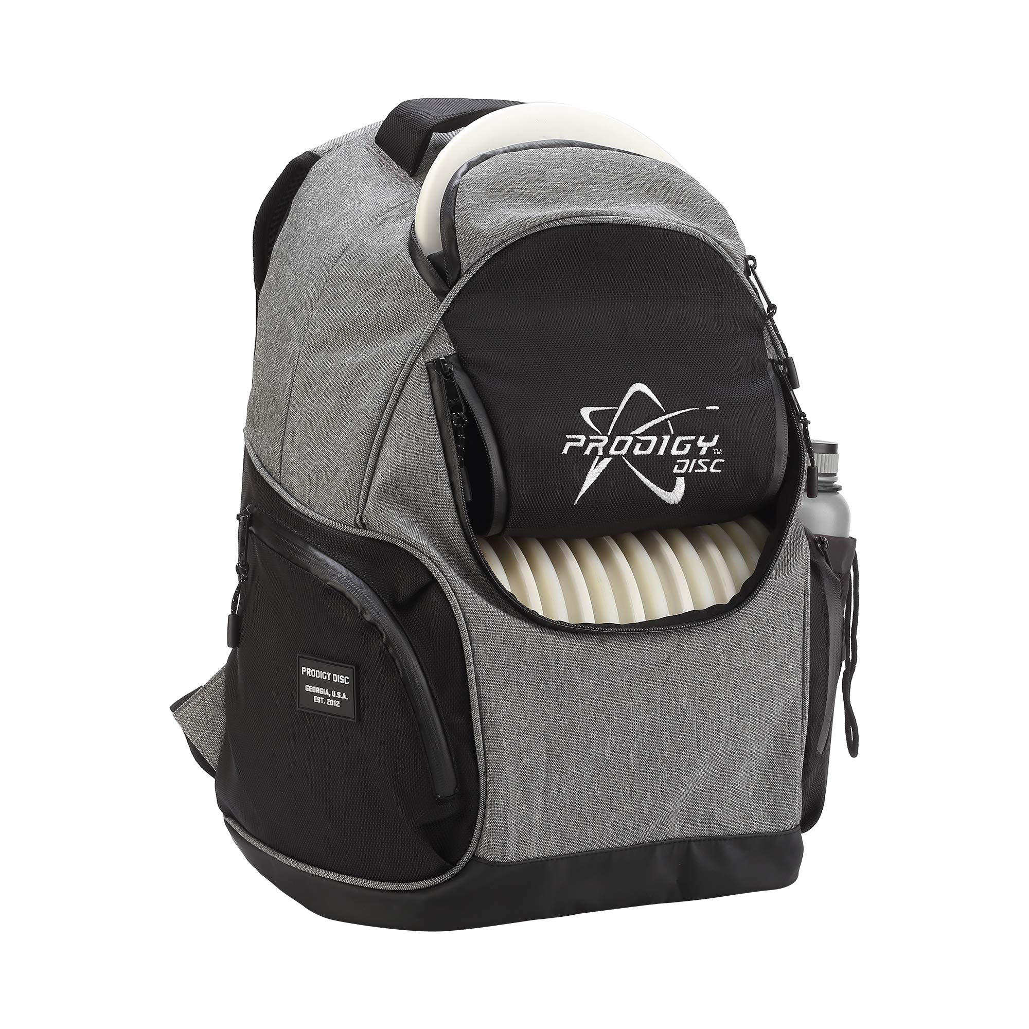 Prodigy Disc BP-3 V2 Disc Golf Backpack - Fits 17 Discs - Beginner Friendly, Affordable (Heather Gray/Black) by Prodigy Disc