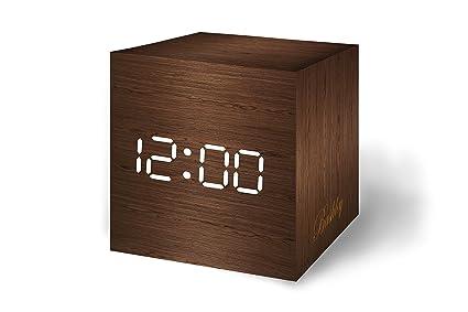Bashley Wood Alarm Clock Digital LED Light Minimalist Mini Cube with Date and Temperature Sound Control Desk Alarm Clock for Travel, Kids Bedroom, ...