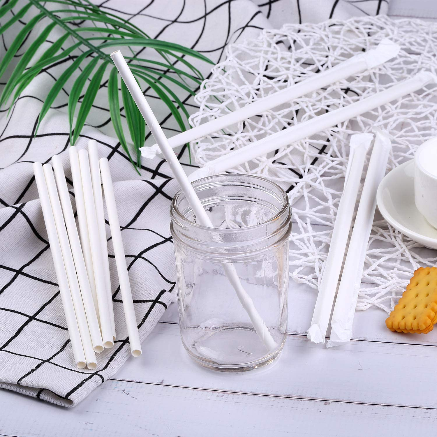 Cooraby 100 Pieces Individually Wrapped Paper Straws White Paper Straws Biodegradable Drinking Straw Dye-Free Paper Straws Decorations for Wedding Supplies and Party Favor