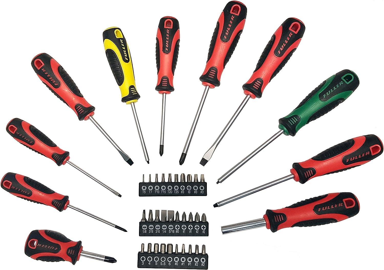 Fuller Tool 103-1520 41 Piece Screwdriver Set Screw Driver kit Long Screwdrivers Phillips Mechanics Flat Head Long Flathead Multi-Tip Screwdriver Handle Plus 30 Assorted Bits