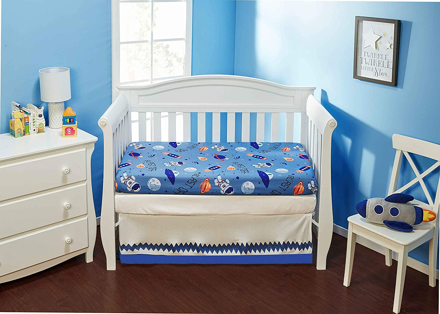 EVERYDAY KIDS 2 Pack Fitted Boys Crib Sheet, 100% Soft Microfiber, Breathable and Hypoallergenic Baby Sheet, Fits Standard Size Crib Mattress 28in x 52in, Nursery Sheet - Space/White