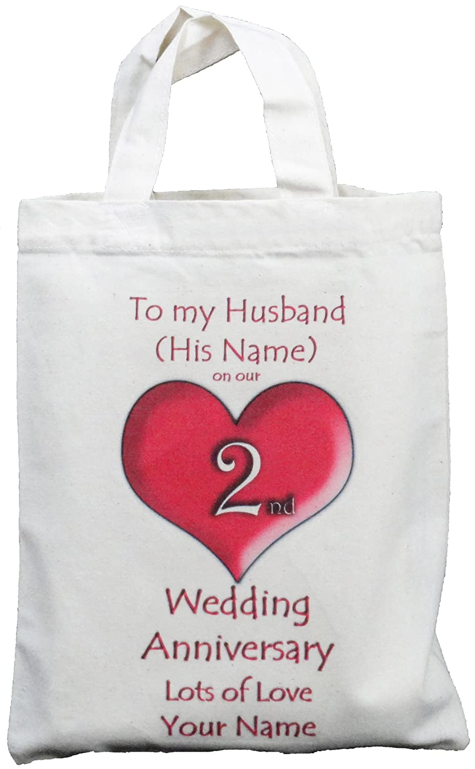 Personalised - 2nd Wedding Anniversary to my Husband - Small Natural ...