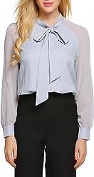 ACEVOG Women Bow Tie Neck Long Sleeve Casual Shirt Blouse Tops