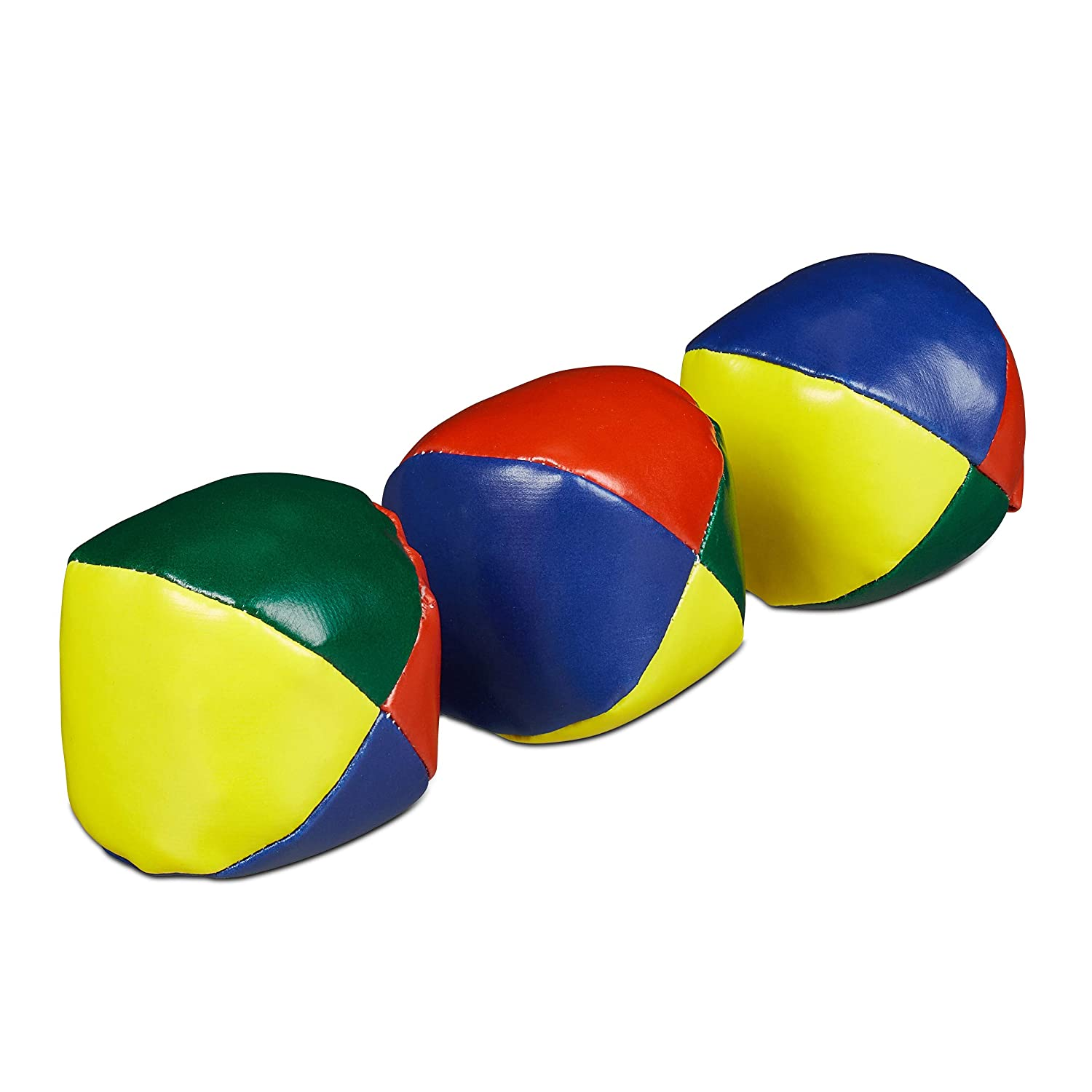 Relaxdays Lot de 3 balles de jonglage pour Adulte Unisexe - Adulte - Jongling Balls Souple - Enfant & Adulte - Jongle - Ø 6 cm - Multicolore