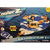 6 Person Cooler Z Blue Caribbean Floating Island Inflatable in Water with Cooler & Cup Holders