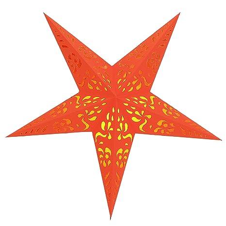 Brubaker Falt Weihnachtsstern 5 Zacken Orange Florale Auschnitte Mit Orangefarbenen Transparentpapier Unterlegt 60 Cm