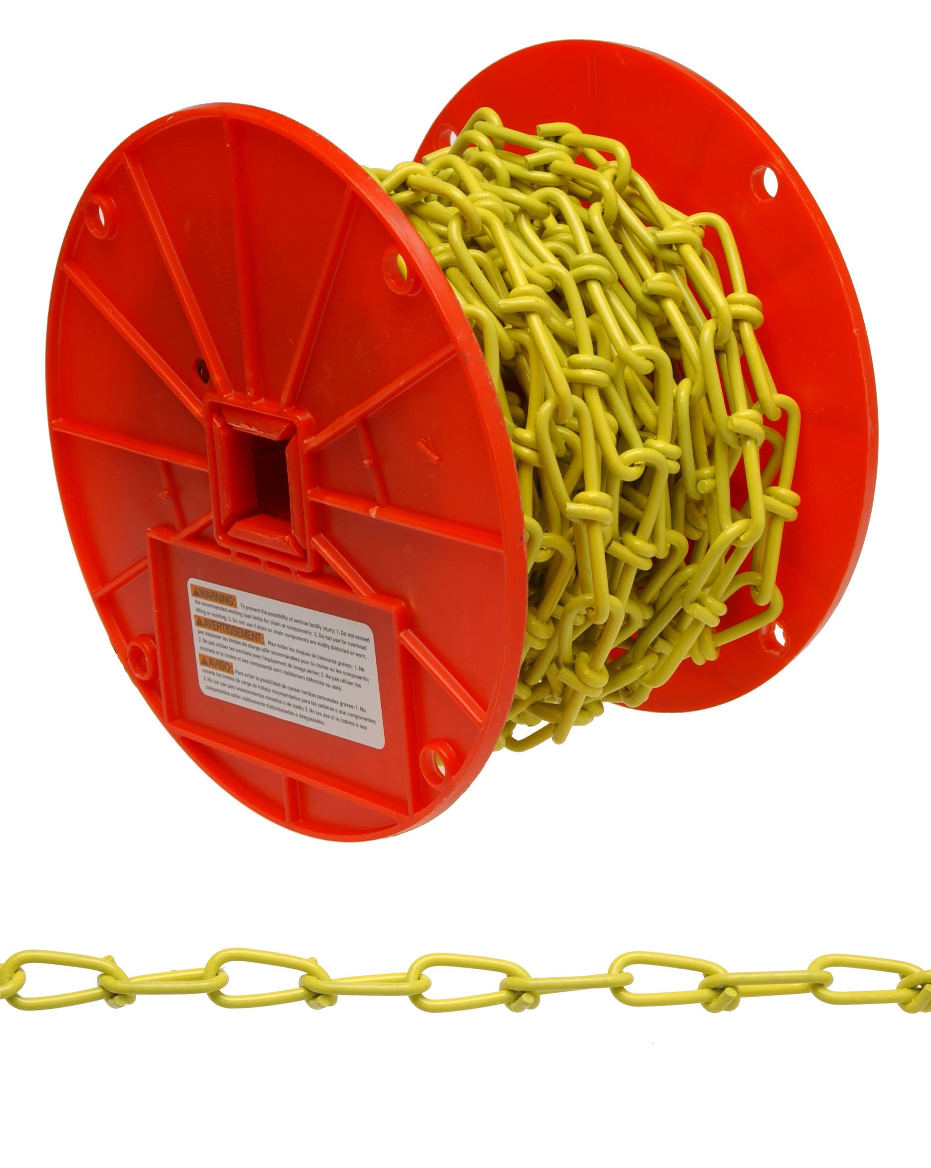 Campbell PD0722087 Low Carbon Steel Inco Double Loop Chain on Reel, Yellow Polycoated, 2/0 Trade, 0.14'' Diameter, 50' Length, 255 lbs Load Capacity