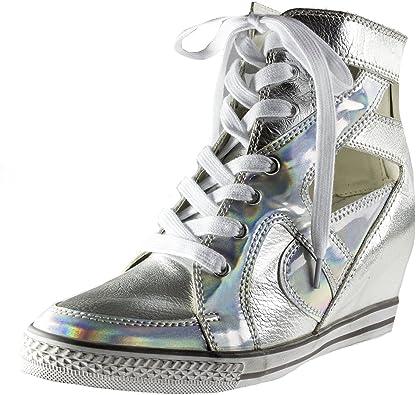 Wedge Fashion Sneaker, Silver Metallic