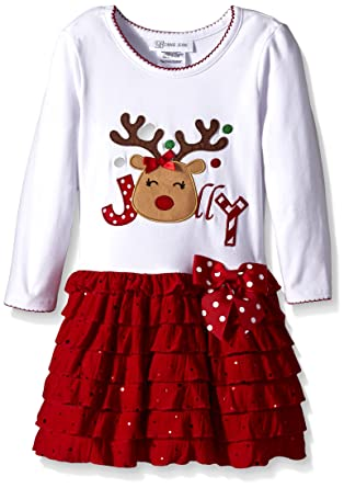 0c96b6597 Amazon.com: Bonnie Jean Girls' Reindeer Appliqued Dropwaist Tier Dress:  Clothing