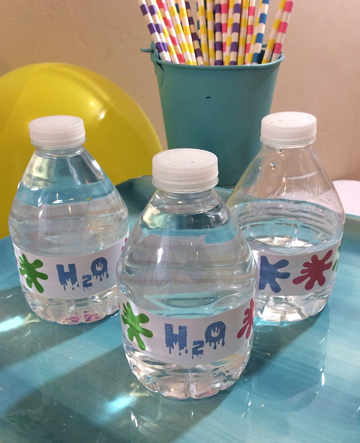 10 Slime or Ghostbusters Party Water Bottle Labels