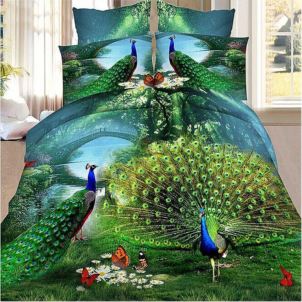 Peacock Bedding Animal Print Comforter Cotton Queen Set 3D Oil Painting Duvet Cover Set 4Pcs Queen