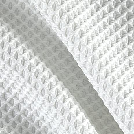 Polyester Spandex Latice Knit Pique Ivory Fabric By The Yard