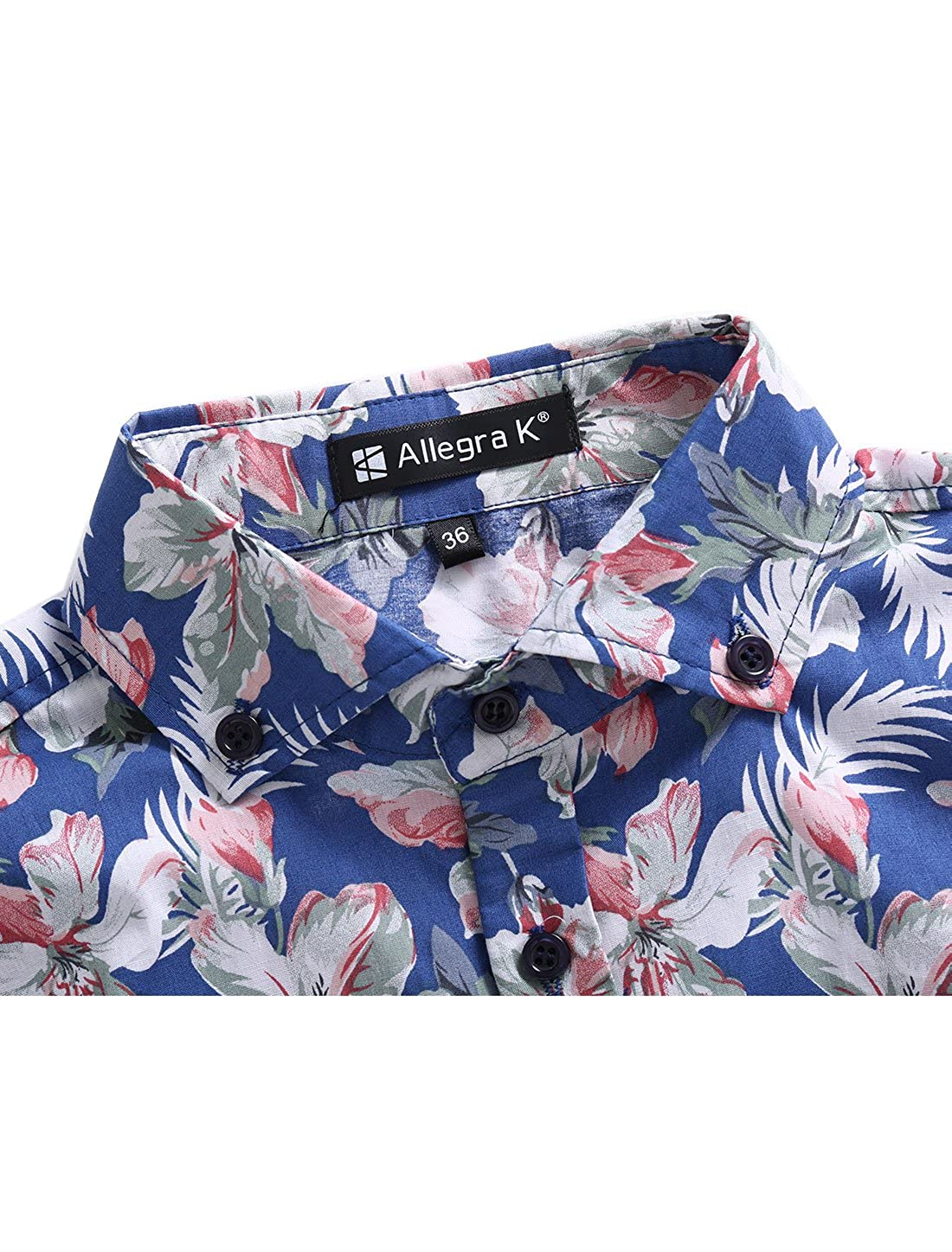 uxcell Men Slim Fit Floral Print Short Sleeve Button Down Beach Hawaiian Casual Aloha Shirt