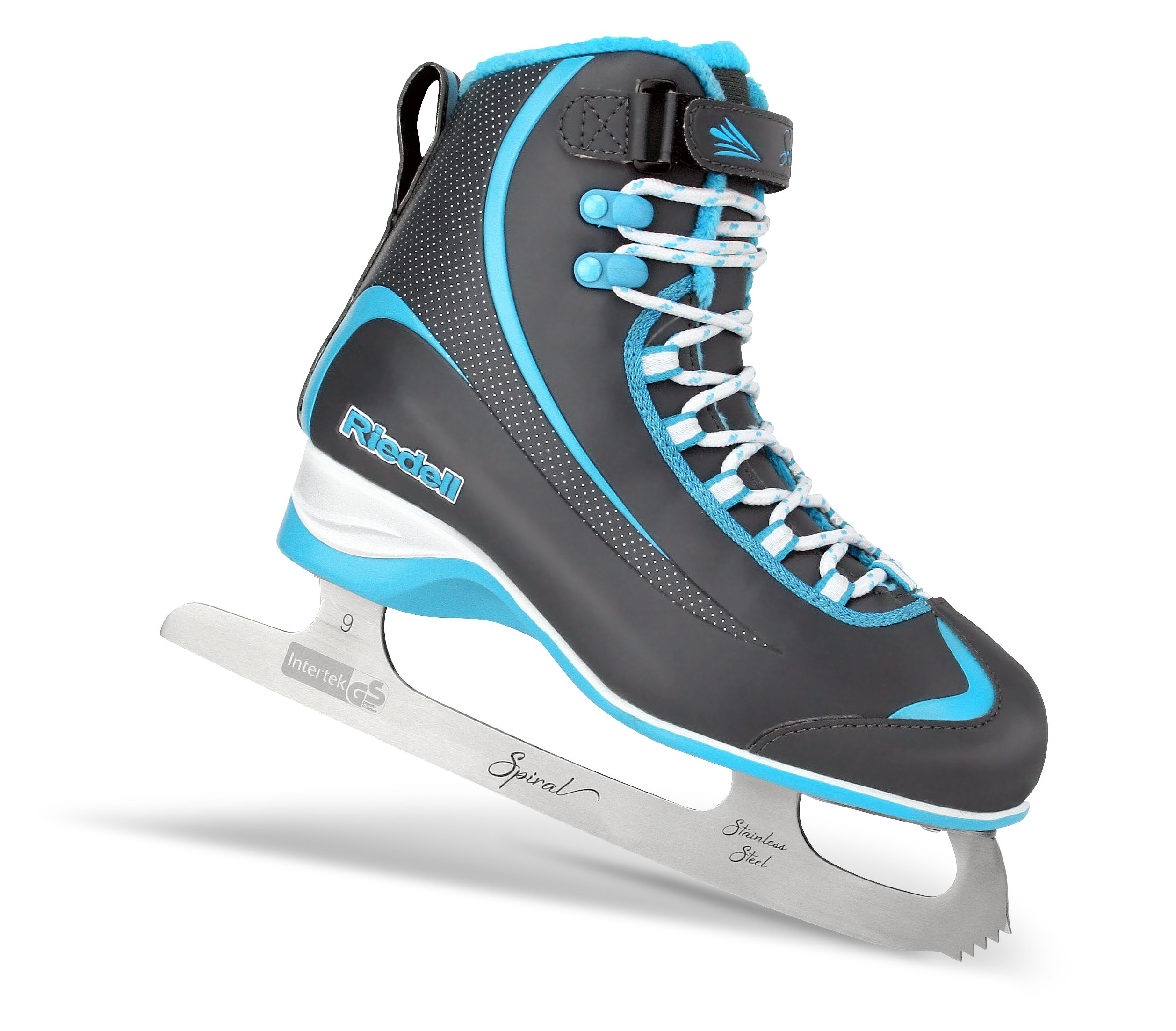 Riedell 615 Soar / Kids Beginner/Soft Figure Ice Skates / Color: Gray with Blue / Size: 1