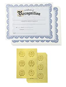 Certificate of Recognition and Gold Foil Seal Stickers (Blue, 8.5 x 11 in, 48-Pack)
