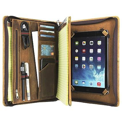 Cartera de Piel auténtica Hecha a Mano, tamaño A4, con Cremallera, para iPad