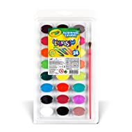 Crayola 24 Ct Washable Watercolors Easy to Clean Up, 24 Bright Washable Watercolor Paints, 1 Paintbrush, Ages 3+