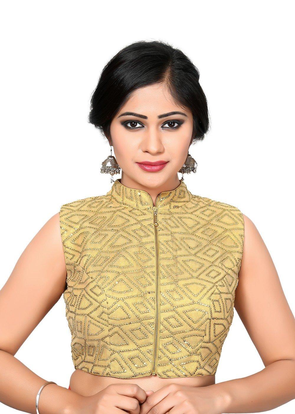 Gold Front Zipper Saree Blouse Choli