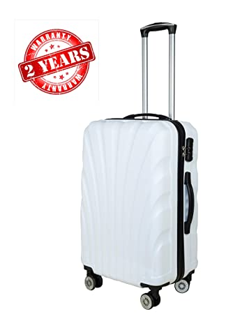 3G Combat Series 8016 Unisex ABS 55 cm/20 Inch 4 Wheels White Hard Sided Luggage Trolley Cabin Size Suitcase