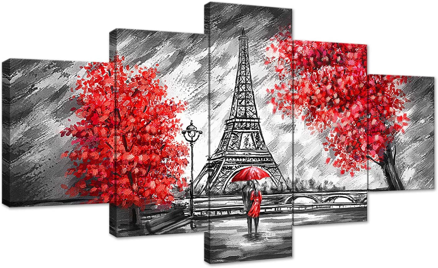 Black and White and Red The Couple Walking in The Rain Eiffel Tower Red Tree Canvas Painting Wall Art Poster Modern Home Decor 5 Panels HD Printed Decor Framed Stretched Ready to Hang