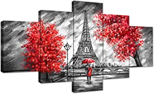 The Couple Walking in The Rain Eiffel Tower Red Tree Canvas Black and White Painting Wall Art Poster Modern Home Decor 5 Panels Printed Decor for Living Room Bedroom Painting Framed Ready to Hang