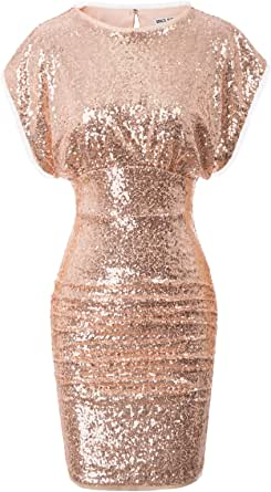 GRACE KARIN Women's Sparkling Sequins Hollowed Back Mini Ruched Pencil Dress