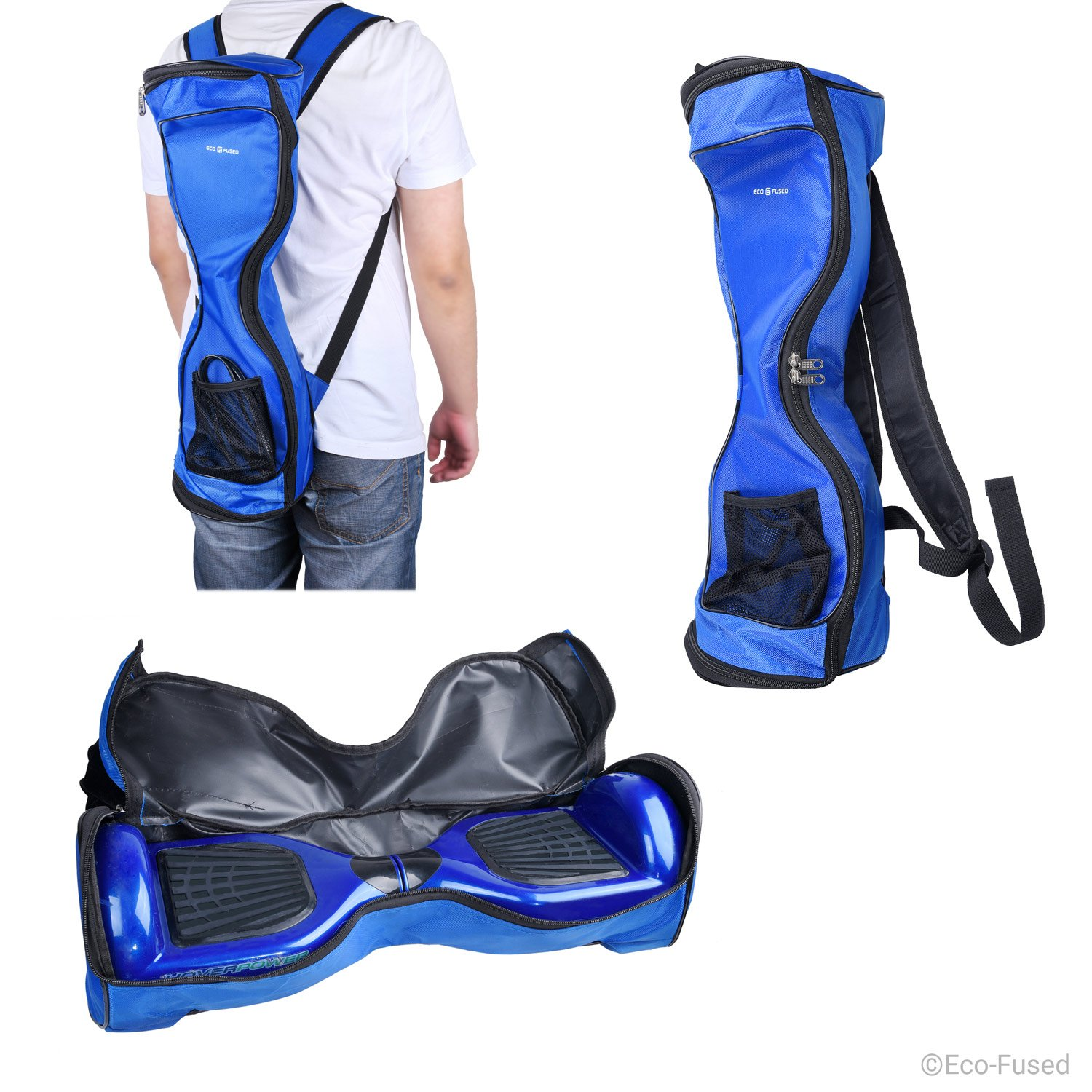 Waterproof Backpack to Carry/Store your drifting board (Two Wheels Smart Balance Board Scooter Electric Self Smart Drifting Board) - Mesh Pocket - Adjustable Shoulder Straps - Carry Handle - Blue