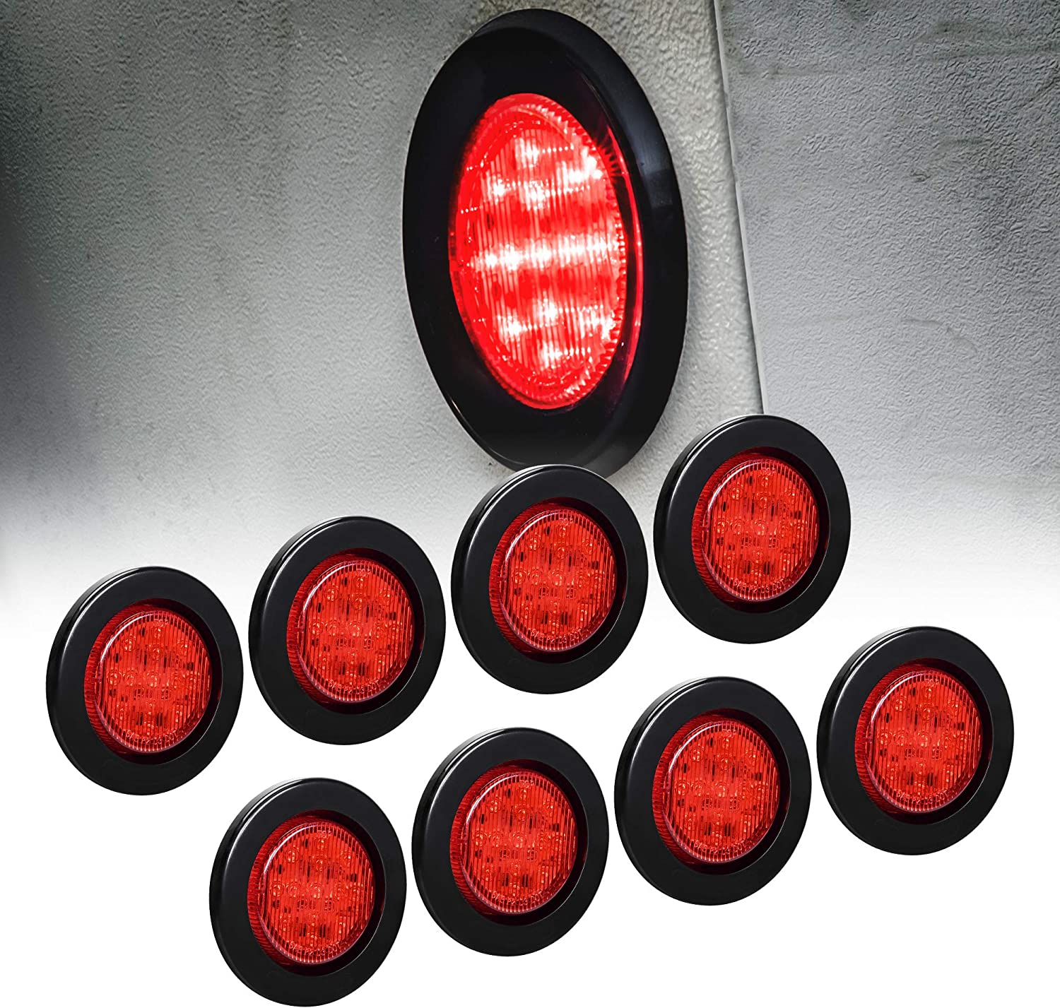 "8pc 2.5"" Red Round Trailer LED Marker Lights [DOT Approved] [Reflector Lens][13 LED] [Grommet] [Flush-Mount] [Waterproof IP67] Marker Lights for Trailer Truck 81XFZatyK2L"