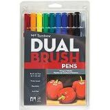 Tombow - 10 stylos pinceaux à deux mines - Couleurs primaires - Multicolores