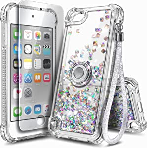 NGB iPod Touch 7 Case, iPod Touch 6/5 Case with HD Screen Protector and Ring Holder for Girls Women Kids, Glitter Liquid Soft TPU Cute Case for Apple iPod Touch 7th/6th/5th Generation -Clear Gem
