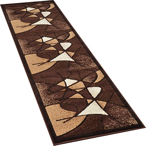 Allstar 2×7 Chocolate and Mocha Modern and Contemporary Machine Carved Runner with Espresso and Ivory Abstract Design 1 11 x 7 1