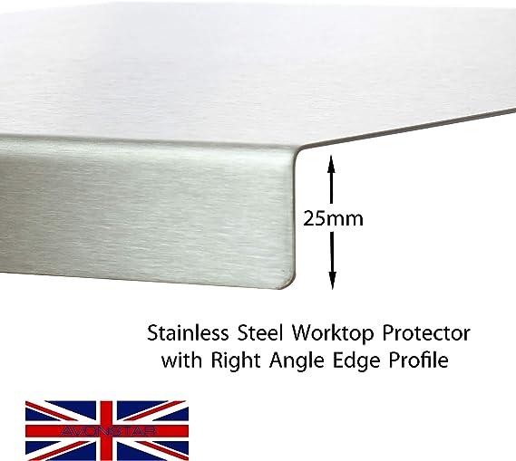 Protector de encimera de acero inoxidable con borde cuadrado, plano o redondo (incluye pies de goma antideslizantes), acero inoxidable, Plateado, 300 ...