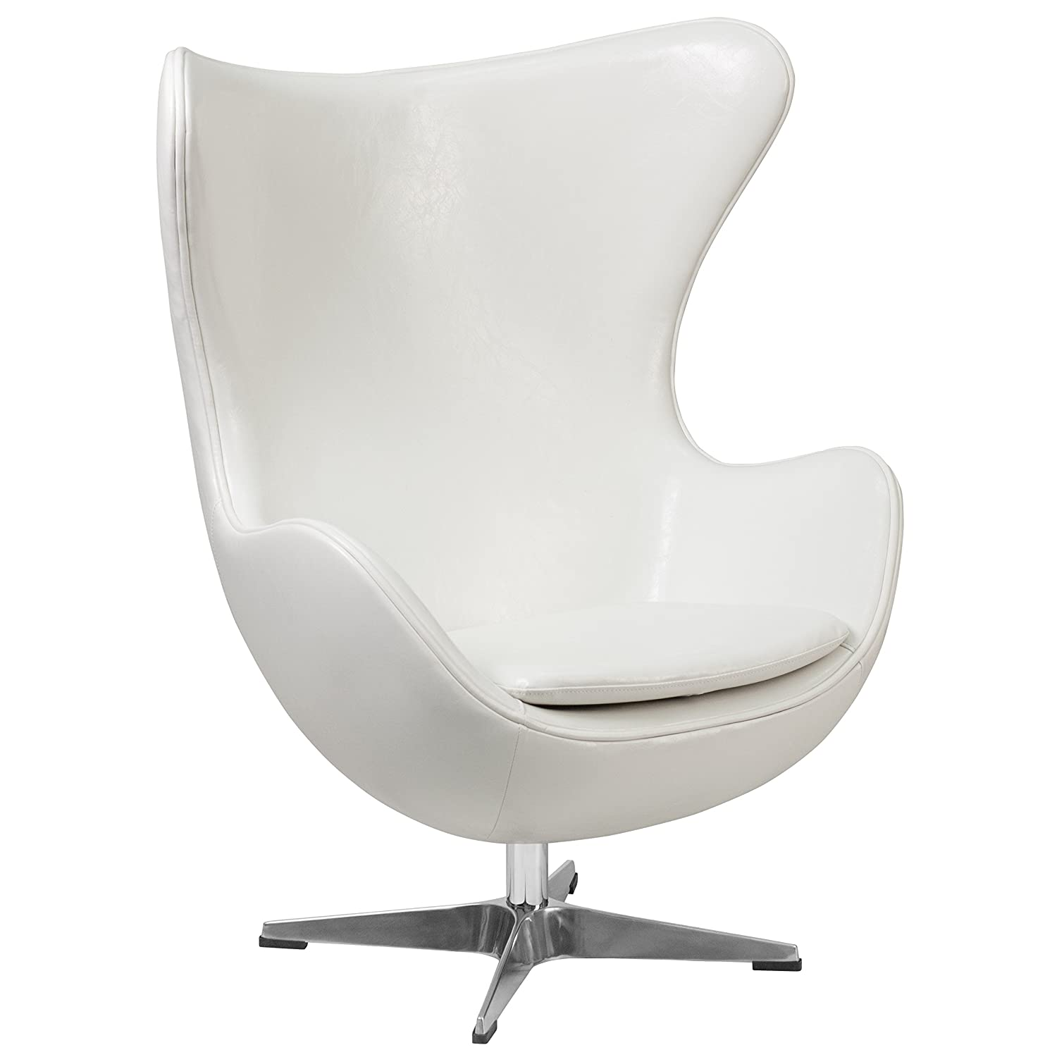 amazon com flash furniture melrose white leather egg chair with