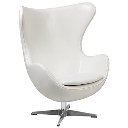 Flash Furniture Melrose White Leather Egg Chair With Tilt Lock Mechanism
