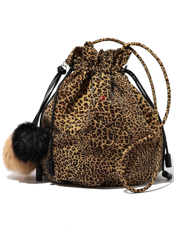 Amazon | (レイビームス) Ray BEAMS キャセ ポンポン巾着BG 61610502962 ONE SIZE LEOPARD | トートバッグ