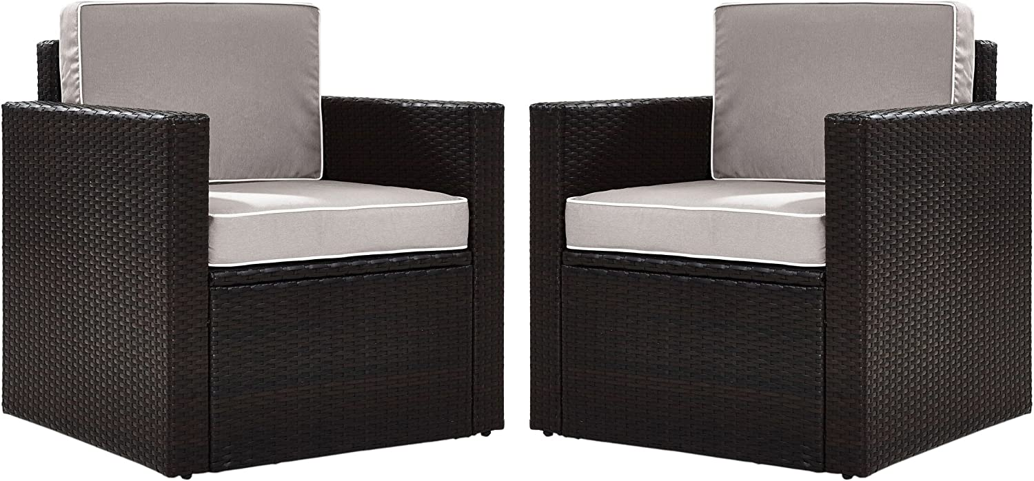 Crosley Furniture KO70005BR-GY Palm Harbor Outdoor Wicker Arm Chairs, Set of 2, Brown with Gray Cushions