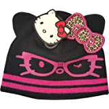 c9d2b374520 Girls Winter Hello Kitty Black Beanie Hat Pink Hello Kitty With Leopard Bow Design  Age 7