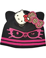 Girls Winter Hello Kitty Black Beanie Hat Pink Hello Kitty With Leopard Bow Design Age 7-10 Years
