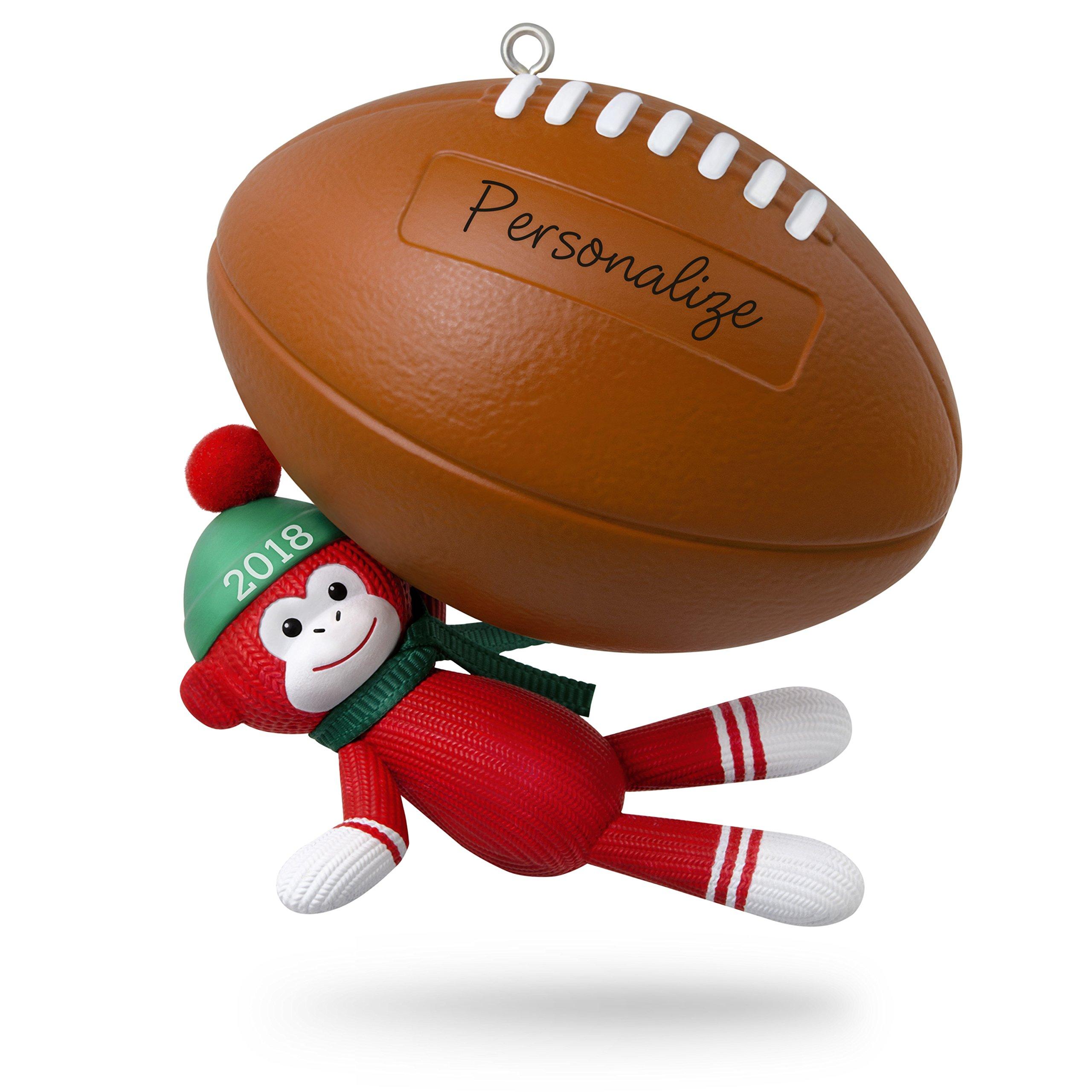 Hallmark Keepsake Personalized Christmas Ornament 2018 Year Dated, Football Star Sock Monkey