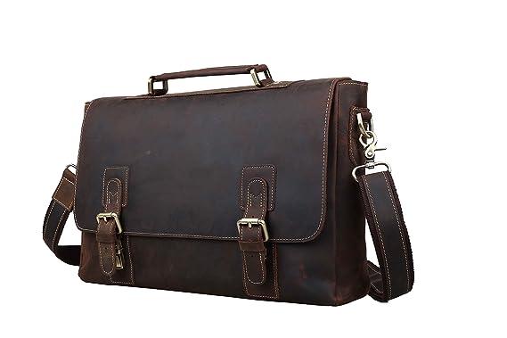 85a67e8714 Mens Leather Briefcases 14 quot  Laptop Messenger Bag Brown Tote Shoulder  Bags
