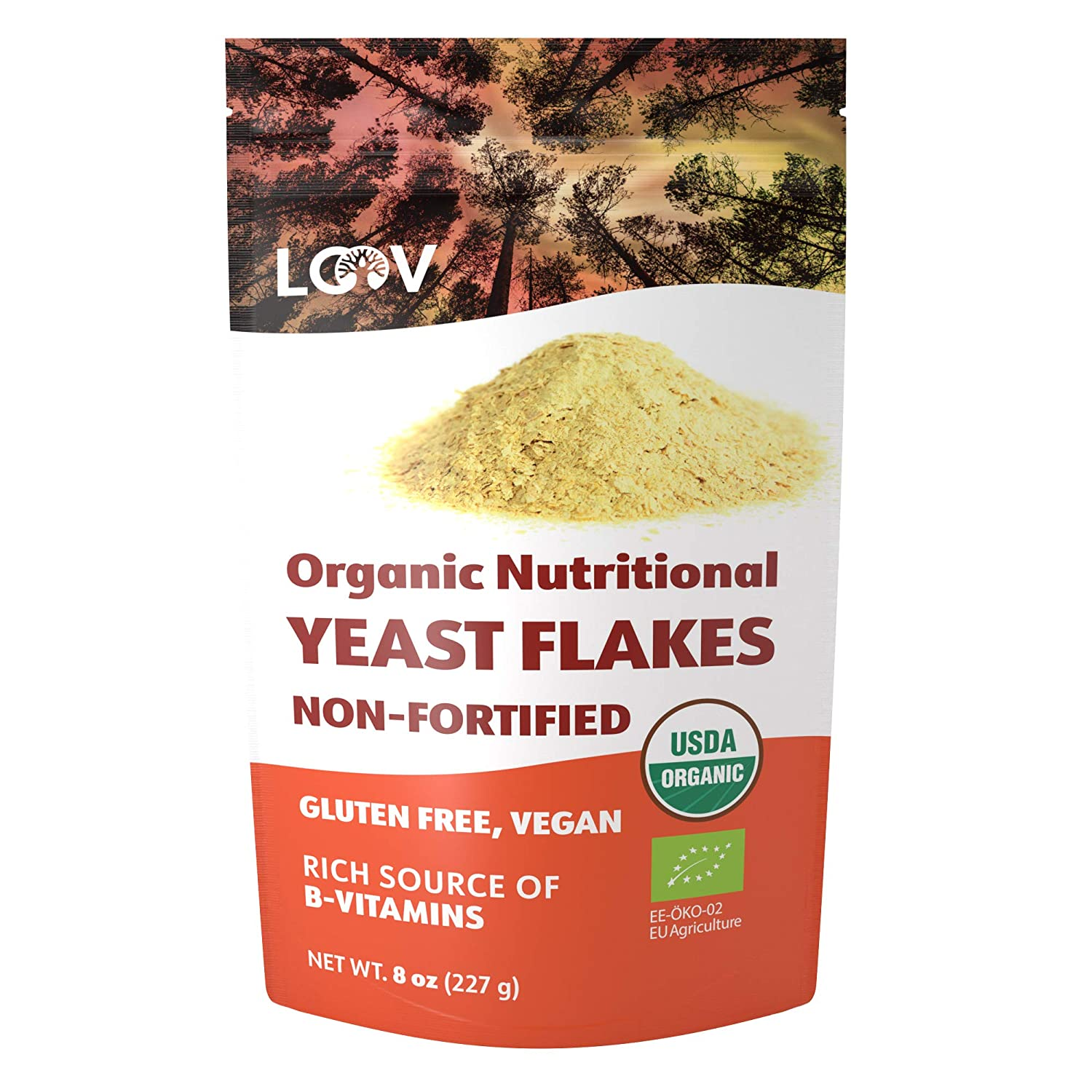 LOOV Organic non-Fortified Nutritional Yeast Flakes, Nooch, Toasted, Vegan, non-GMO, Gluten Free, Good Source of B-Vitamins, 8 Ounces, no Added Vitamins, no Added Sugar, Resealable Bag