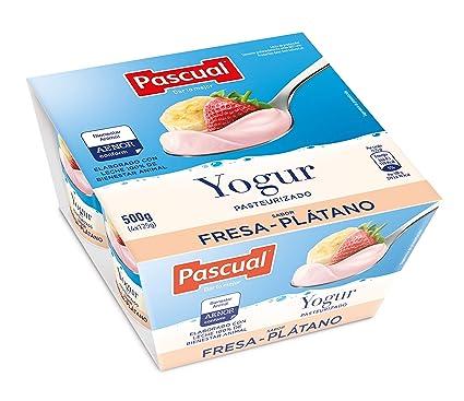Pascual Yogur Original Sabor Fresa-Plátano - Paquete de 4 x 125 gr ...