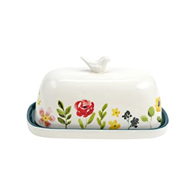 Hallmark Home Floral Accent Butter Dish