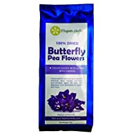 Butterfly Pea Flowers (Clitoria ternatea) by Majestic Herbs | 100% Organic/Pesticide Free | Highest Quality | Carefully Selected Dried Asian Pigeonwings Flowers Blue Tea From Northern Thailand | 50g